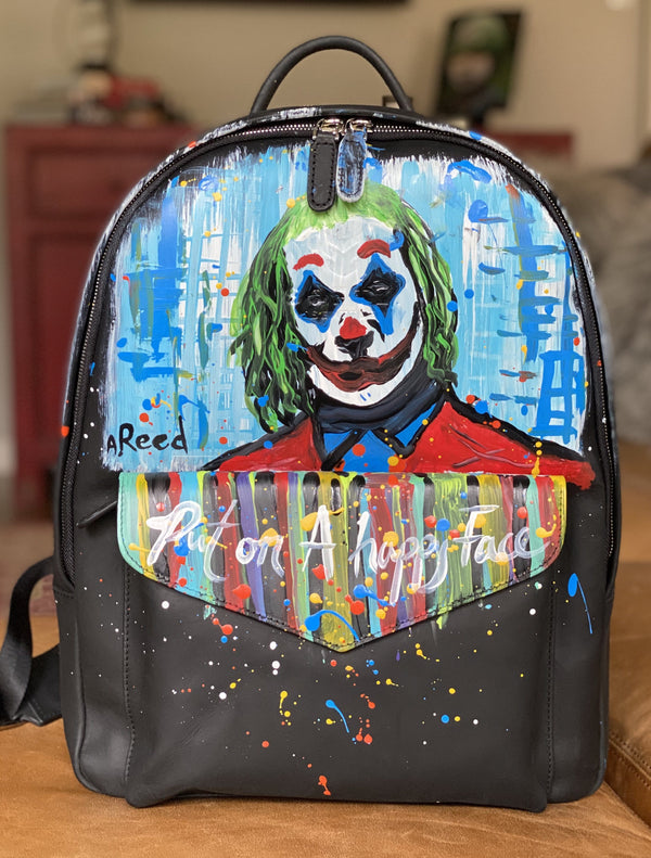 """Put On a Happy Face""  Austin Reed x SOFTLI Hand painted Leather Backpack"