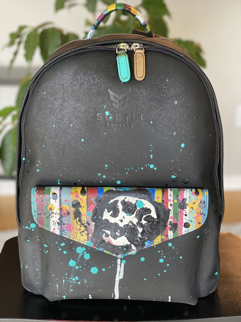 Austin Reed x SOFTLI Hand-Painted Leather Backpack