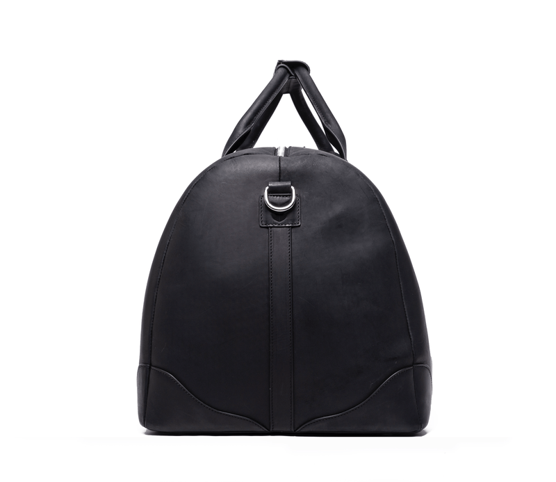 SOFTLI Leather Duffle Bag - Black - Side View