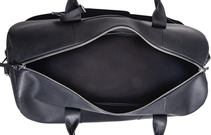 SOFTLI Leather Duffle Bag - Black - Inside View