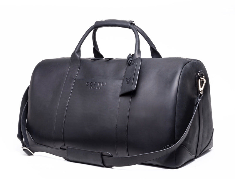 SOFTLI Leather Duffle Bag - Black