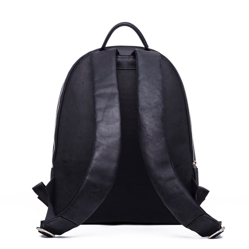 SOFTLI Leather Backpack - Black - Back View