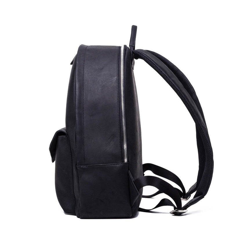 SOFTLI Leather Backpack - Black - Side View