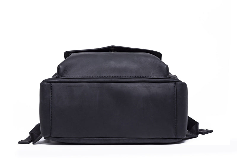 SOFTLI Leather Backpack - Black - Bottom View