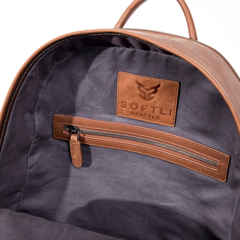 SOFTLI Leather Backpack - Cognac - Inside View