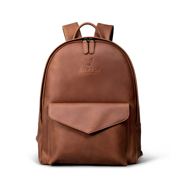 SOFTLI Leather Backpack - Cognac
