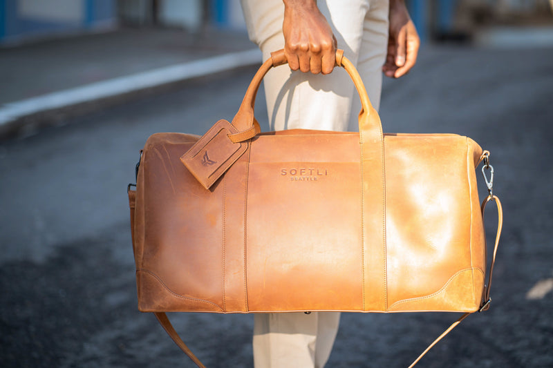 SOFTLI Leather Duffle Bag - Cognac