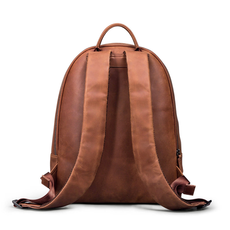 SOFTLI Leather Backpack - Cognac - Back View