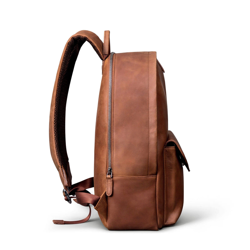 SOFTLI Leather Backpack - Cognac - Side View