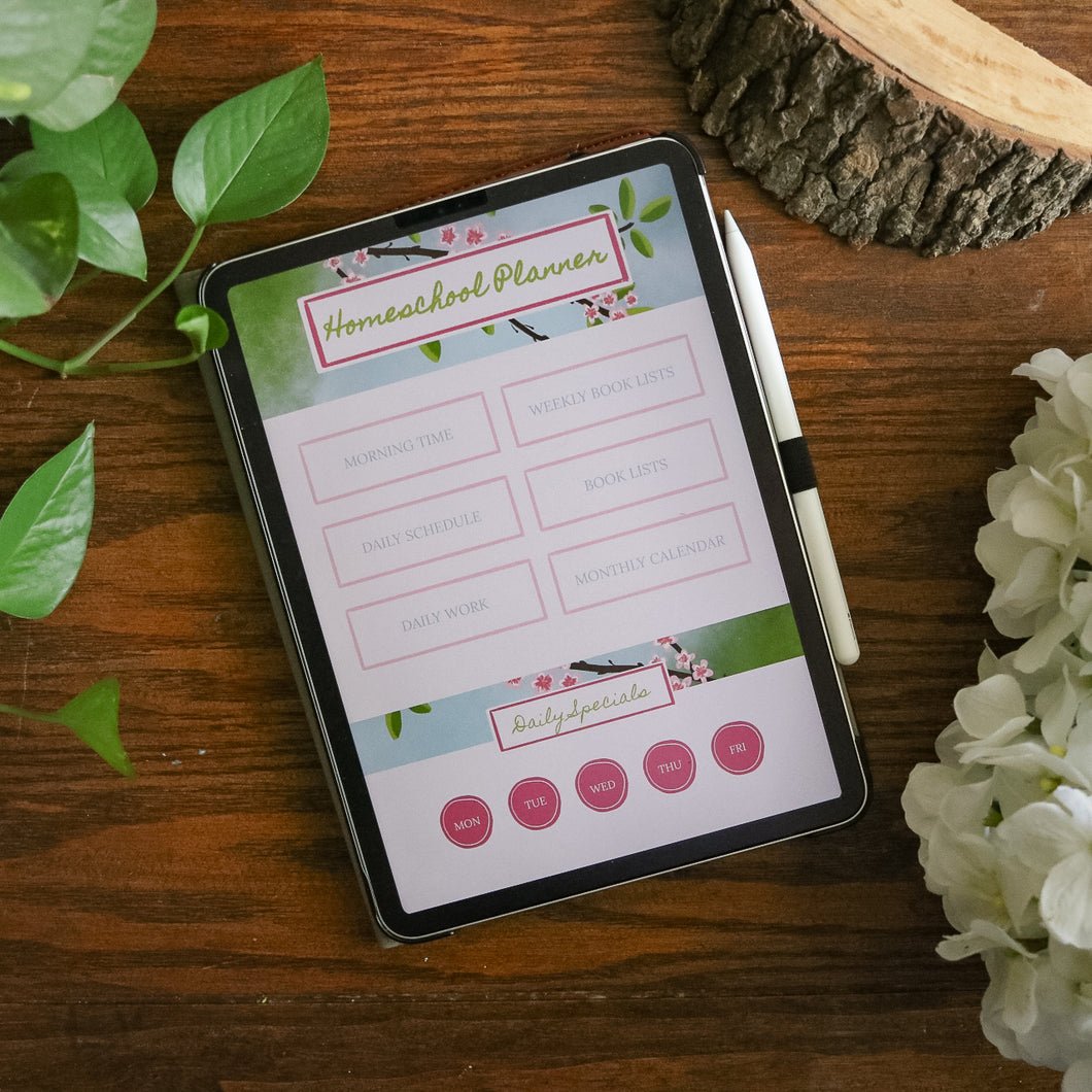 Digital Homeschool Organizer: Apple Blossom Theme