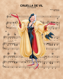 101 Dalmatians Cruella De Vil over Sheet Music Art Print