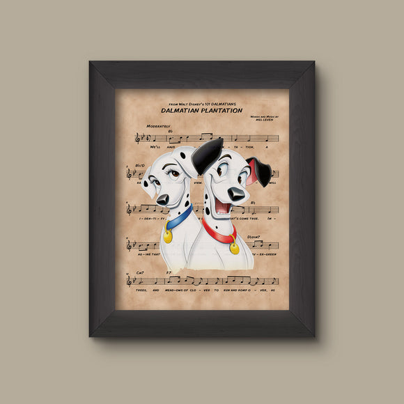 101 Dalmatians Pongo and Perdita over Dalmatian Plantation Sheet Music Art Print