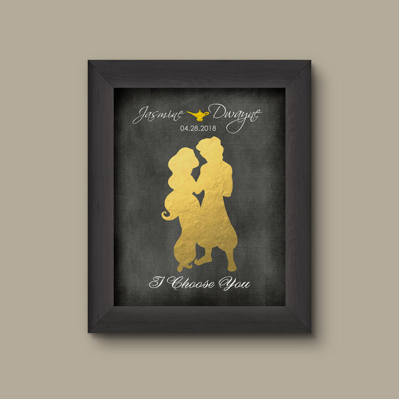Aladdin and Jasmine, I Choose You, Personalized Foil Print