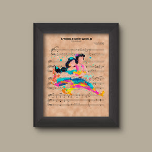 Aladdin and Jasmine Magic Carpet Ride Watercolor  A Whole New World Sheet Music Art Print