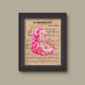 Alice in Wonderland, Cheshire Cat Watercolor , The Unbirthday Song Sheet Music Art Print