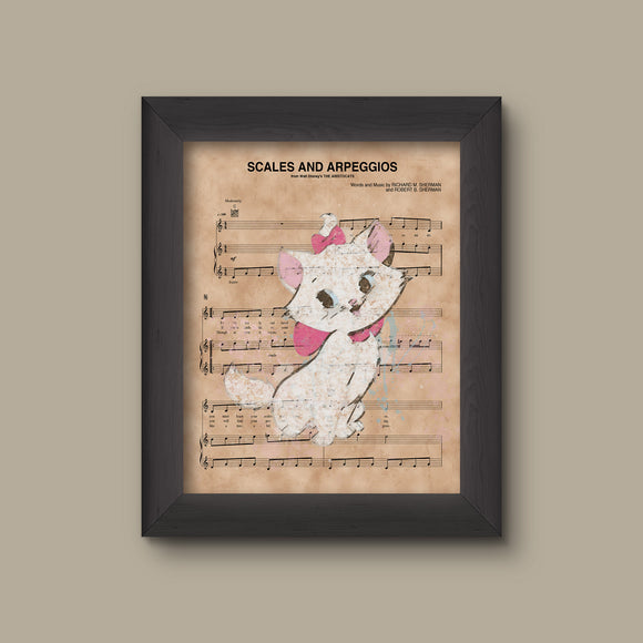 Aristocats, Marie Watercolor over Scales and Arpeggios Sheet Music Art Print