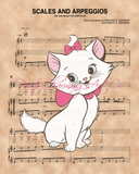 Aristocats, Marie over Scales and Arpeggios Sheet Music Art Print