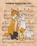 Aristocats over Ev'rybody Wants to be a Cat Sheet Music Art Print