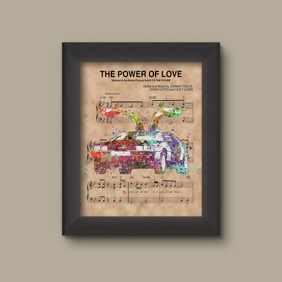 Back to the Future, Delorean watercolor over Power of Love Sheet Music Art Print