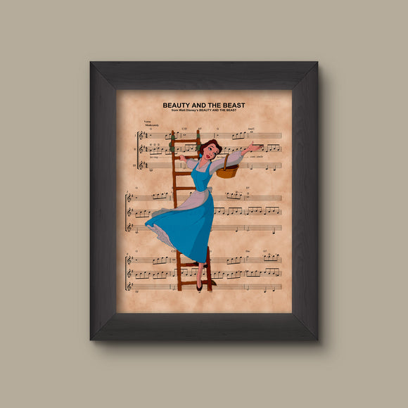 Beauty and the Beast Belle Blue Dress Sheet Music Print