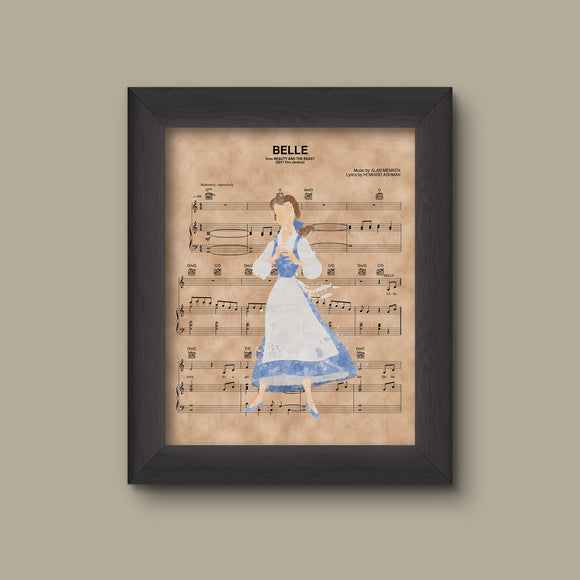 Beauty and the Beast, Belle Blue Dress Solo Watercolor Sheet Music Print