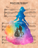 Beauty and the Beast Color Silhouette Sheet Music Print