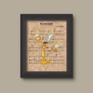 Beauty and the Beast, Lumiere Be Our Guest Sheet Music Art Print