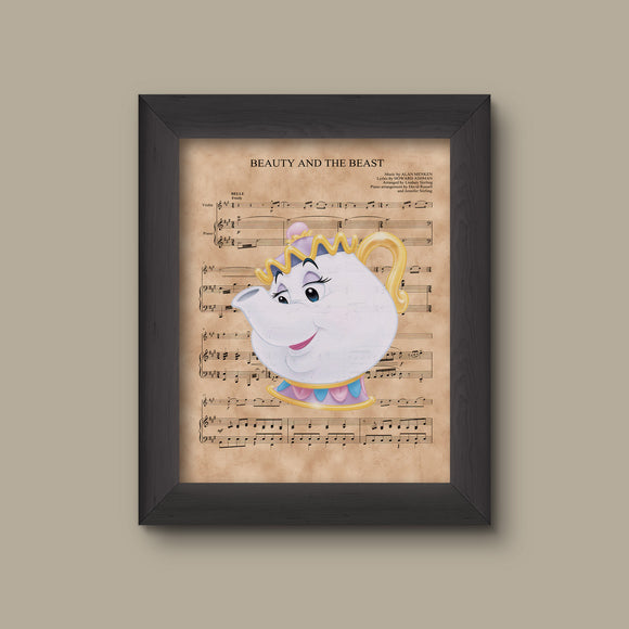 Beauty and the Beast, Mrs. Potts,  Beauty and The Beast Sheet Music Art Print