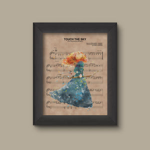 Brave, Merida Watercolor Touch The Sky Sheet Music Art Print