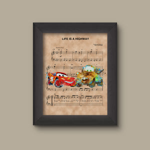 Cars, Lightning McQueen and Mater, Watercolor, Life Is A Highway Sheet Music Art Print