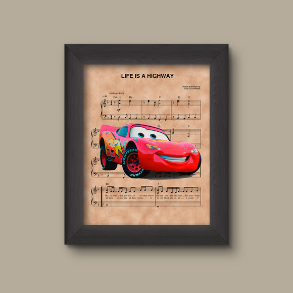 Cars Lightning Mcqueen Life Is A Highway Sheet Music Art Print
