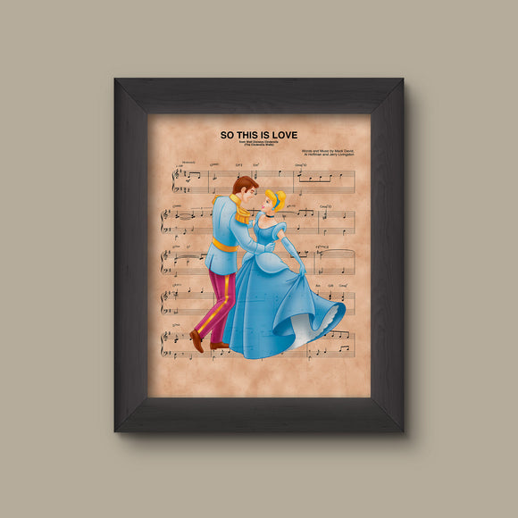 Cinderella, Prince Charming So This Is Love Sheet Music Art Print