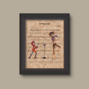 Coco, Coco and Hector, Un Poco Loco Sheet Music Art Print