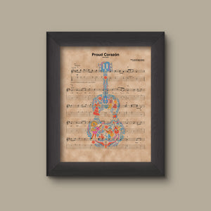 Coco, Guitar Proud Corazon Sheet Music Art Print