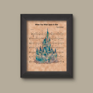 Disney Castle Watercolor, When You Wish Upon A Star Sheet Music Art Print