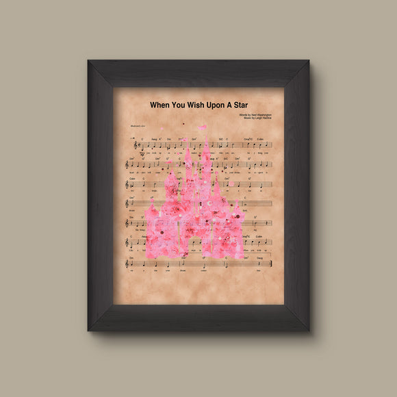Disney Castle Pink Watercolor, When You Wish Upon A Star Sheet Music Art Print