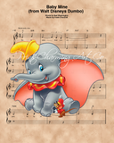 Dumbo and Timothy Q. Mouse, Baby Mine Sheet Music Art Print
