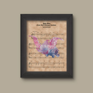 Dumbo Watercolor, Baby Mine Sheet Music Art Print