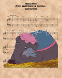 Dumbo and Mother, Baby Mine Sheet Music Art Print