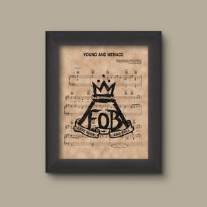 Fall Out Boy, Young And Menace Sheet Music Art Print