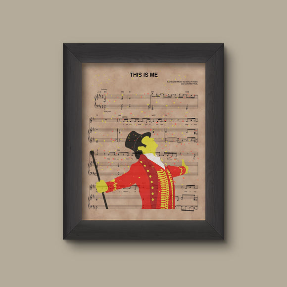 The Greatest Showman Silhouette, This Is Me Sheet Music Art Print