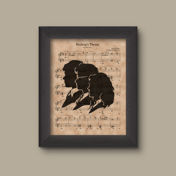 Harry Potter, Trio Silhouette, Hedwig's Theme Sheet Music Art Print