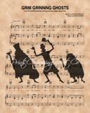 Haunted Mansion Hitchhiking Ghosts over Grim Grinning Ghosts Sheet Music Art Print