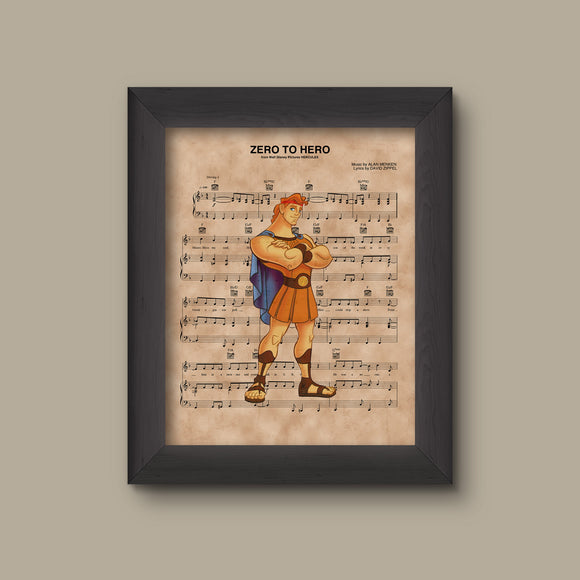 Hercules, Zero to Hero Sheet Music Art Print