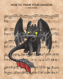 How to Train Your Dragon Toothless over Flight Theme Sheet Music Art Print
