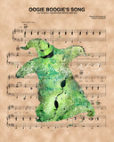 Nightmare Before Christmas, Oogie Boogie, Sheet Music Art Print