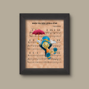 Jiminy Cricket with Umbrella, When You Wish Upon A Star Sheet Music Art Print