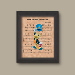 Jiminy Cricket, When You Wish Upon A Star Sheet Music Art Print
