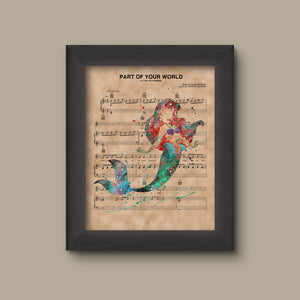 Little Mermaid, Ariel Watercolor Sheet Music Art Print