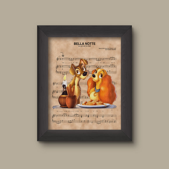 Lady and the Tramp over Bella Notte Sheet Music Art Print